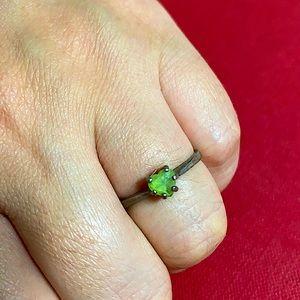🖤5mm Green gemstone Silver ring